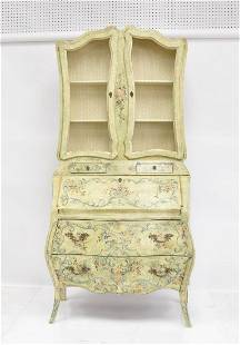 ANTIQUE FRENCH PAINT DECORATED SECRETARY CABINET