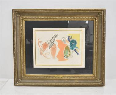 MARC CHAGALL ETCHING ON VELLUM PAPER