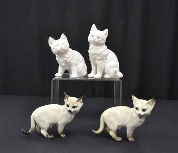 (4) HUTSCHENREUTHER PORCELAIN CATS