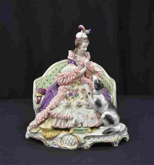 DRESDEN PORCELAIN GROUPING OF WOMAN WITH DOG