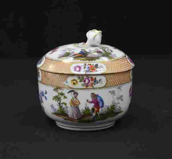 MEISSEN COVERED BOWL WITH FIGURES & ROSE FINIAL