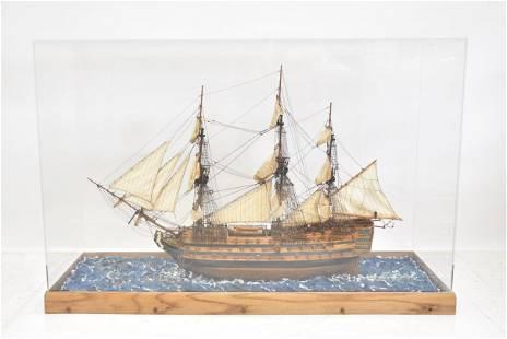 LARGE HAND MADE SHIP DIORAMA