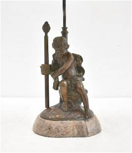 BRONZE SEATED PUTTI ON MARBLE BASE
