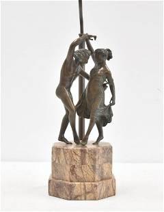 BRONZE MAN & WOMAN DANCING ON MARBLE BASE LAMP