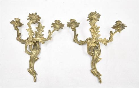 (Pr) FRENCH STYLE BRONZE 3-CANDLE SCONCES