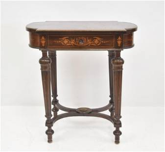 LXVI MARQUETRY INLAID VANITY / SEWING TABLE