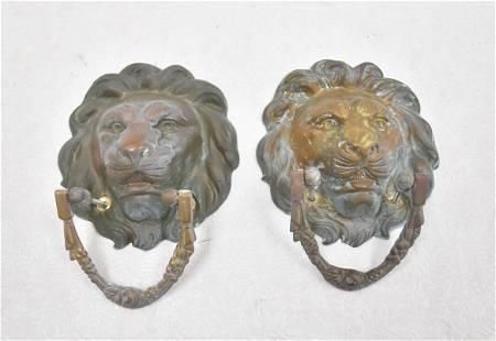 LARGE BRONZE LION HEAD DOOR KNOCKERS