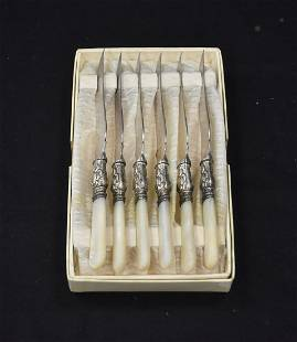 STERLING SILVER & MOTHER OF PEARL FRUIT KNIVES