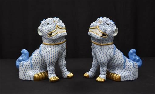 (Pr) LARGE HEREND BLUE FISHNET FOO DOGS