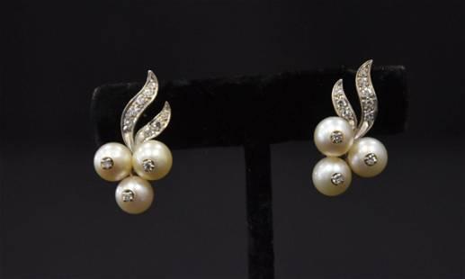 14kt WHITE GOLD DIAMOND & PEARL CLIP EARRINGS