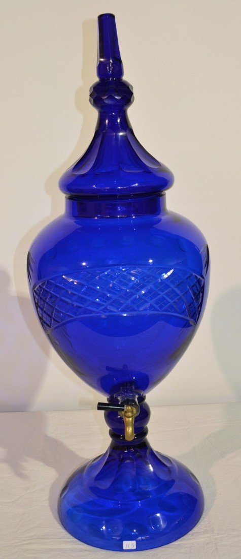 205: COBALT CUT GLASS SYRUP COVERED URN