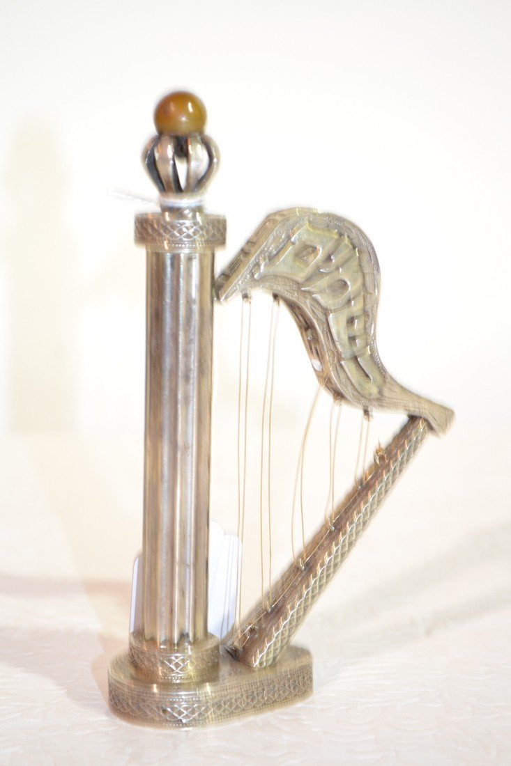 217: ANTIQUE STERLING HARP FORM JUDAICA SCENT