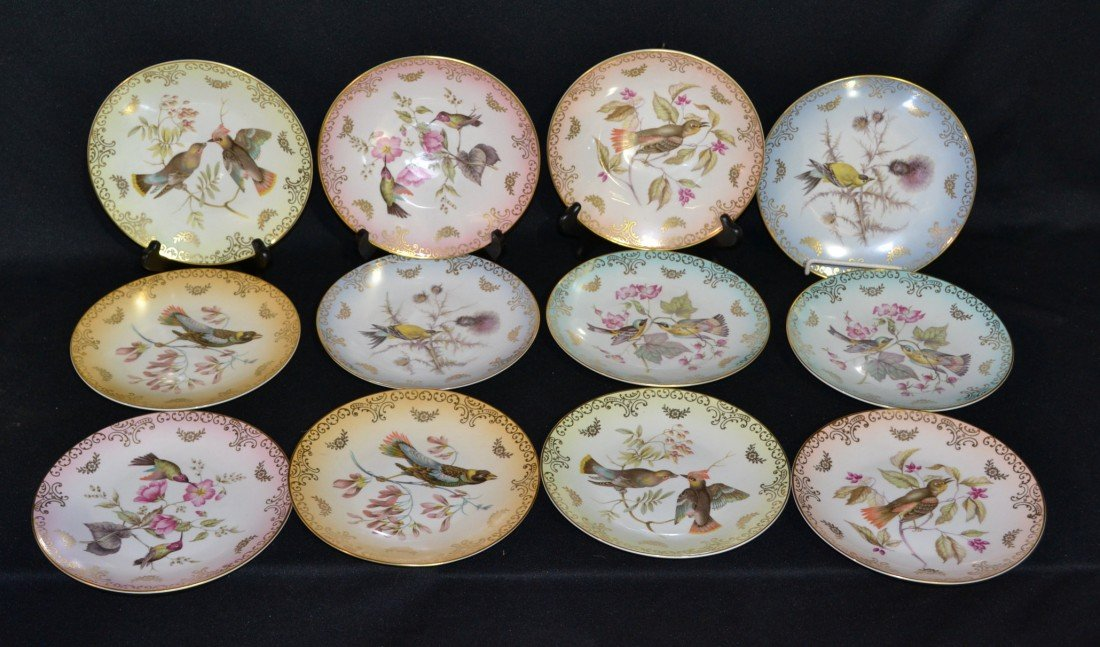 219: (12) HAND PAINTED MITTEREICH AUDOBON PLATES