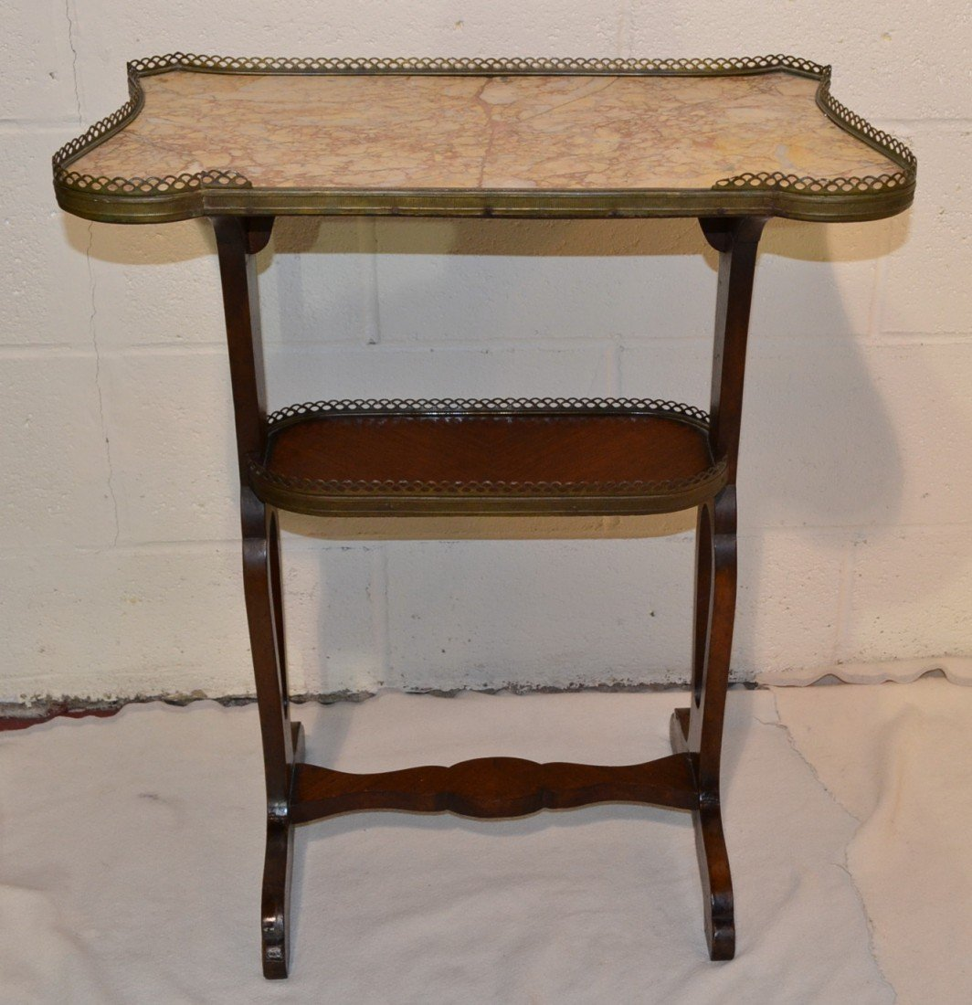 221: FRENCH MARBLE TOP STAND WITH GALLERY