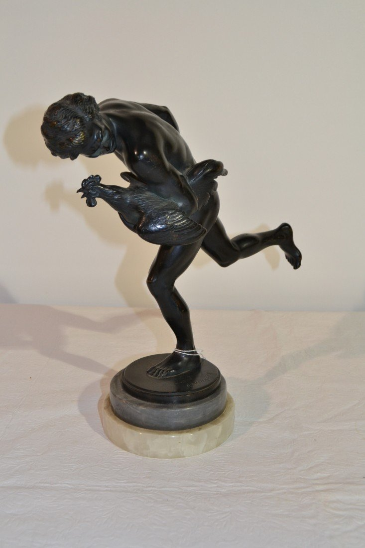271: NUDE MALE WITH ROOSTER BRONZE SCULPTURE - 3