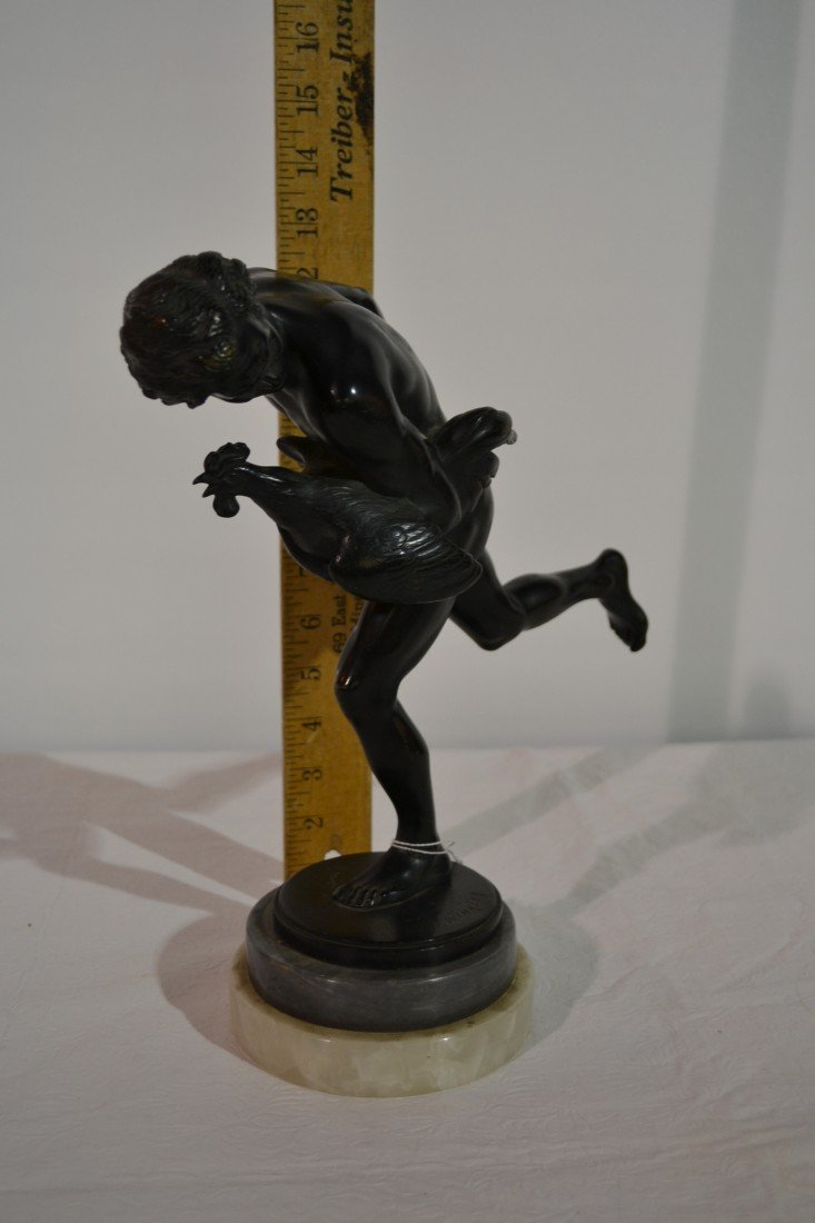 271: NUDE MALE WITH ROOSTER BRONZE SCULPTURE - 4