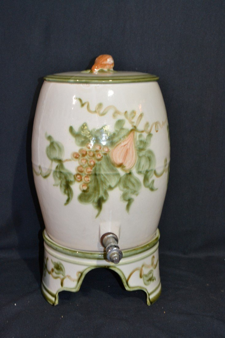 208: 3-PART 1950's HAND PAINTED CERAMIC SYRUP DISPENSER