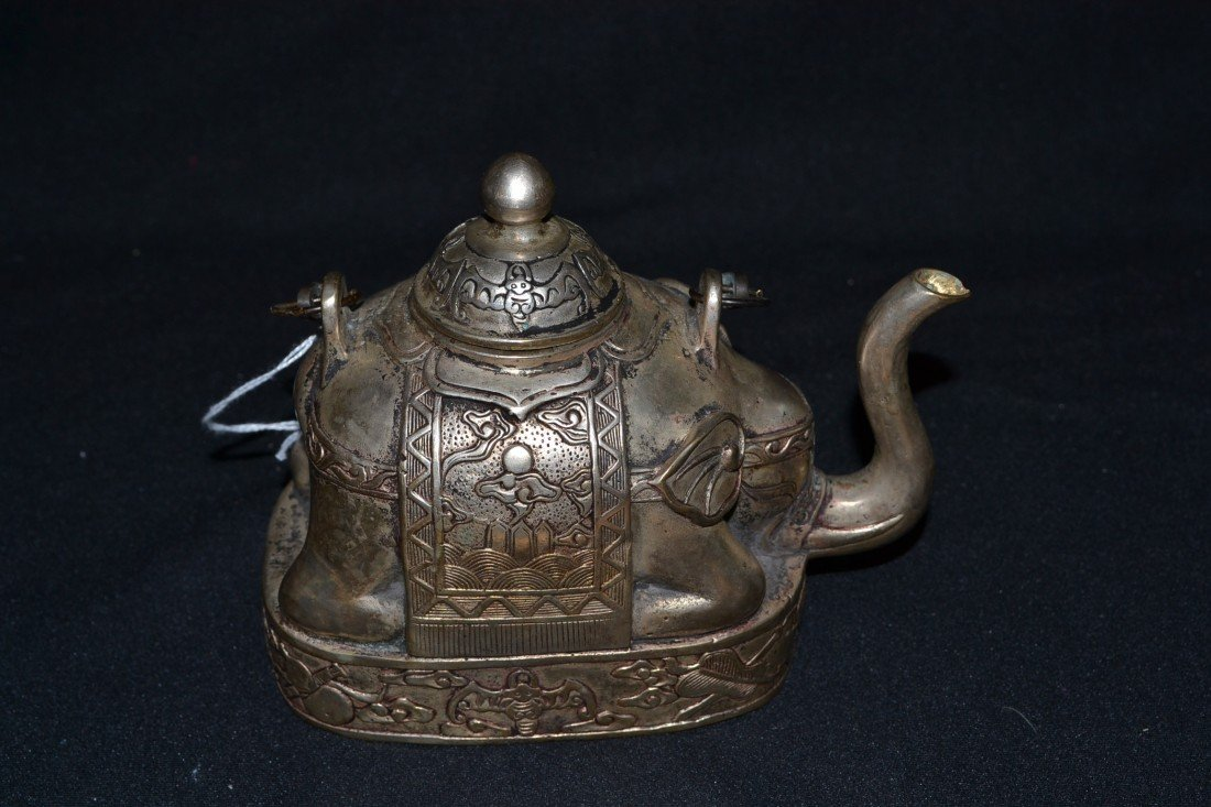 214: SIGNED SILVERED BRONZE COVERED ELEPHANT TEA POT