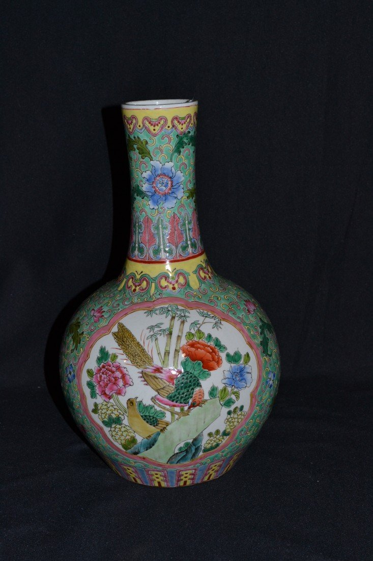 "215: OLD FAMILLE ROSE BULBOUS VASE - 13"" TALL"
