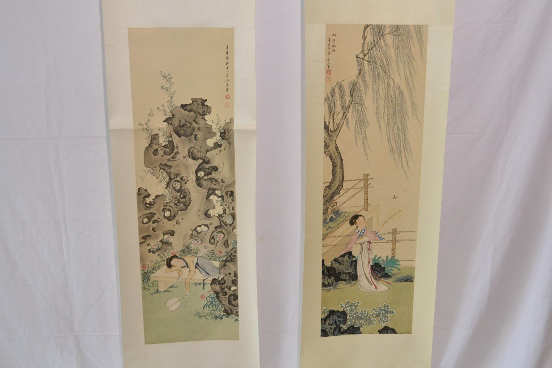 217: (2) SIGNED CHINESE FIGURAL SCROLLS