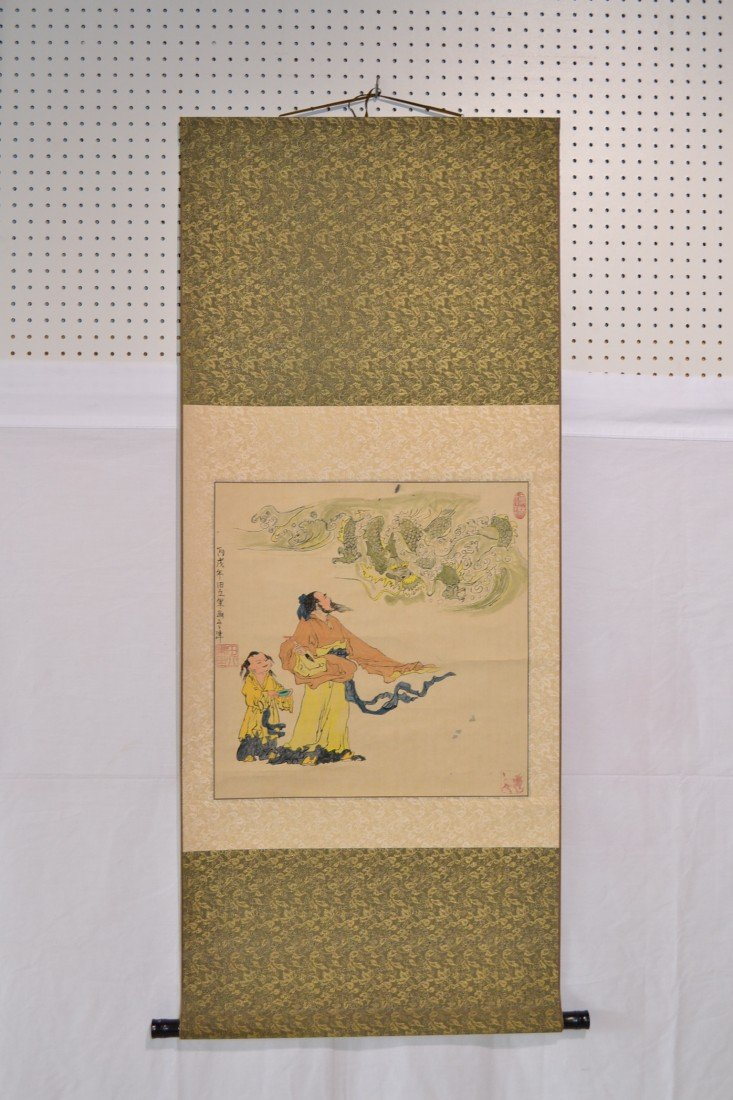 218: SIGNED CHINESE SCROLL OF FIGURES PAINTING DRAGON