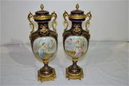 282: (Pr) 19thC HAND PAINTED COBALT SEVRES COVERED URNS