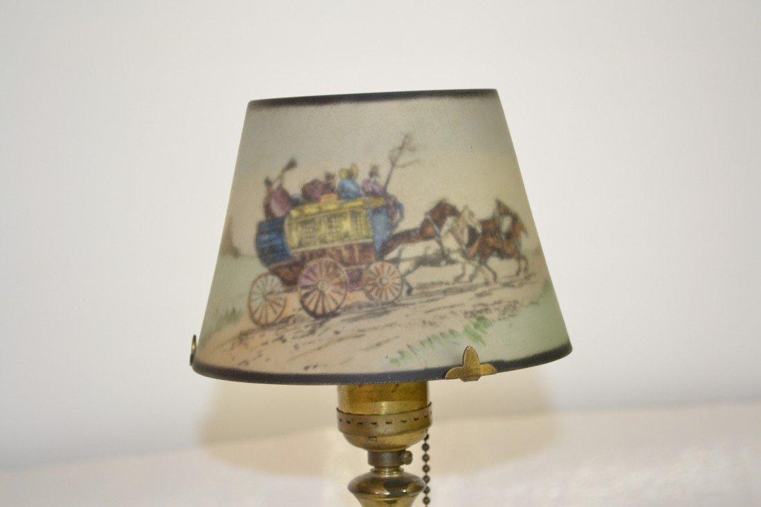 284: SIGNED PAIRPOINT COACHING SCENE BOUDOIR LAMP - 2