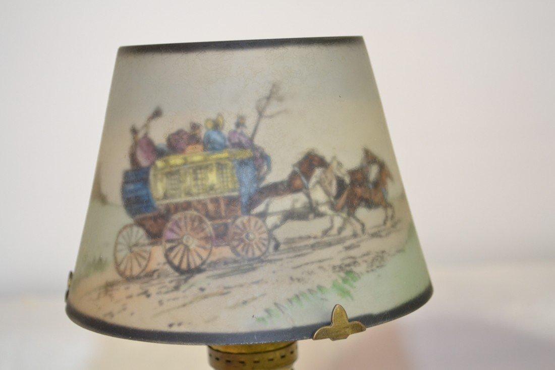 284: SIGNED PAIRPOINT COACHING SCENE BOUDOIR LAMP - 6