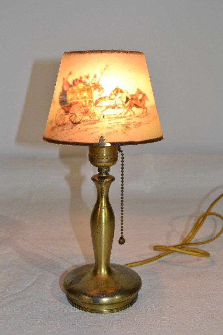 284: SIGNED PAIRPOINT COACHING SCENE BOUDOIR LAMP - 7