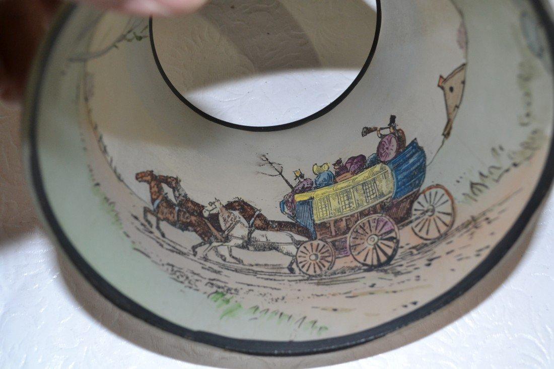284: SIGNED PAIRPOINT COACHING SCENE BOUDOIR LAMP - 9