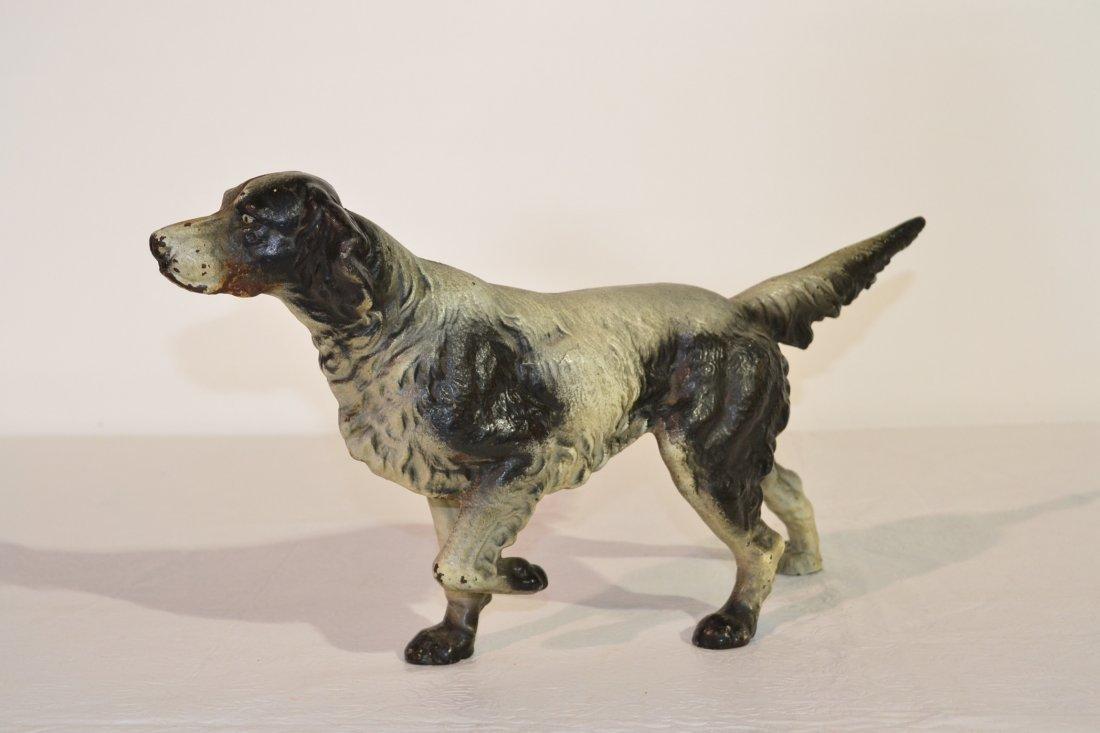 231: FULL BODY CAST IRON BLACK & WHITE HUNTING DOG