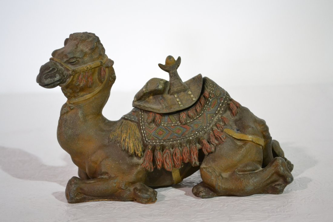 232: COLD PAINTED WHITE METAL CAMEL INKWELL