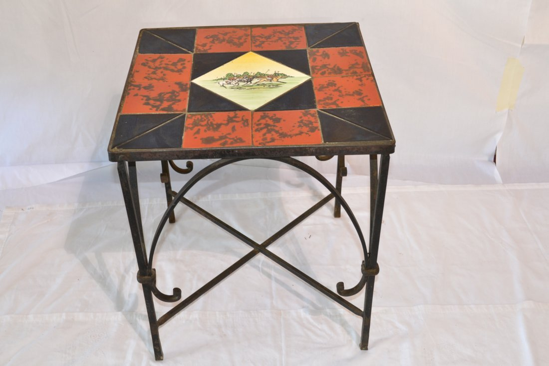 239: D & M TILE TABLE WITH POLO PLAYERS FROM
