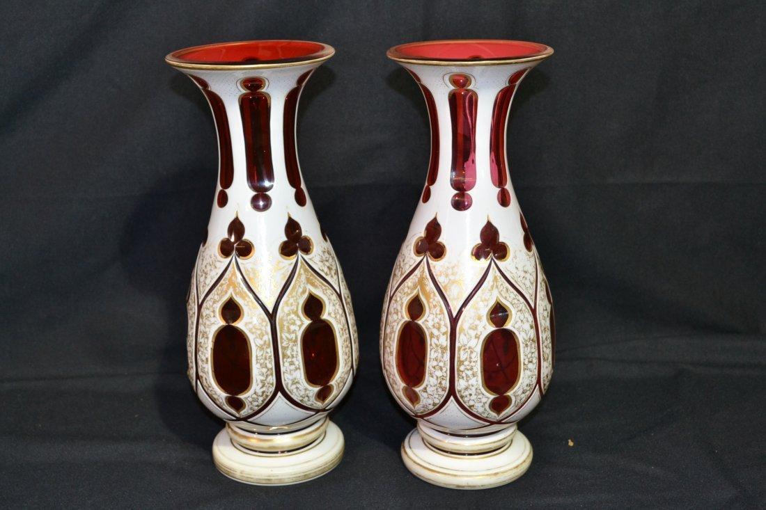 274: (Pr) BOHEMIAN CRANBERRY OVERLAY GLASS VASES