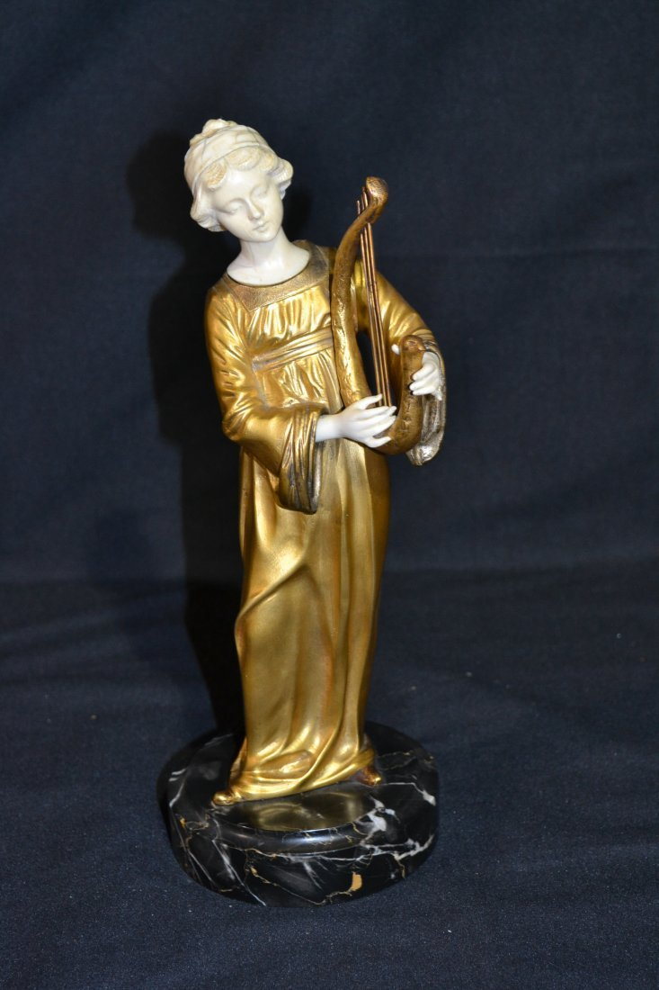290: FRENCH BRONZE & IVORY SCULPTURE OF GIRL PLAYING