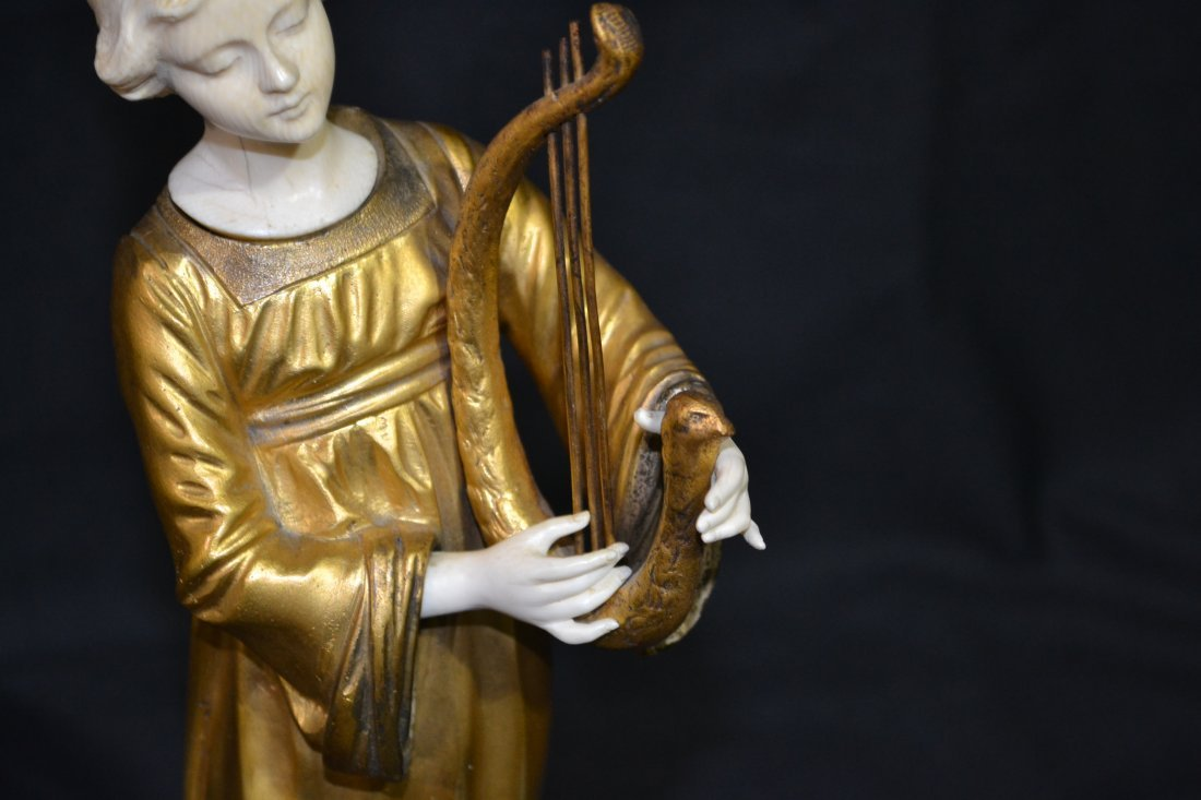 290: FRENCH BRONZE & IVORY SCULPTURE OF GIRL PLAYING - 5