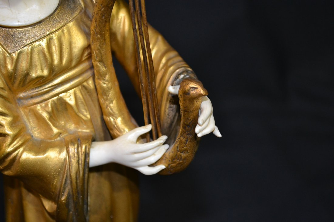 290: FRENCH BRONZE & IVORY SCULPTURE OF GIRL PLAYING - 6