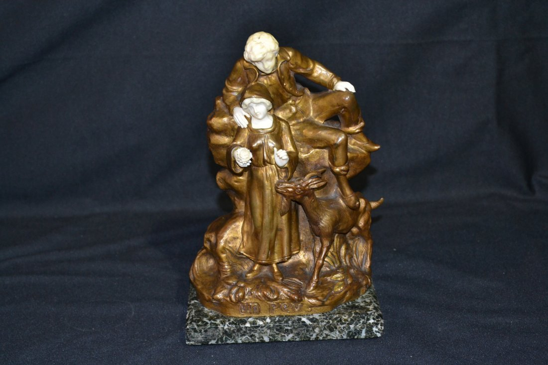 291: FRENCH BRONZE & IVORY GROUPING OF MAN & WOMAN