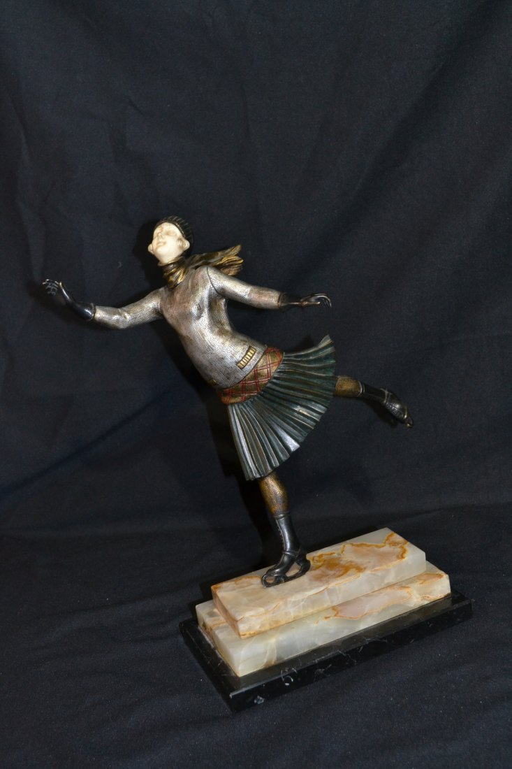 292: POLYCHROME PAINTED BRONZE & IVORY SCULPTURE