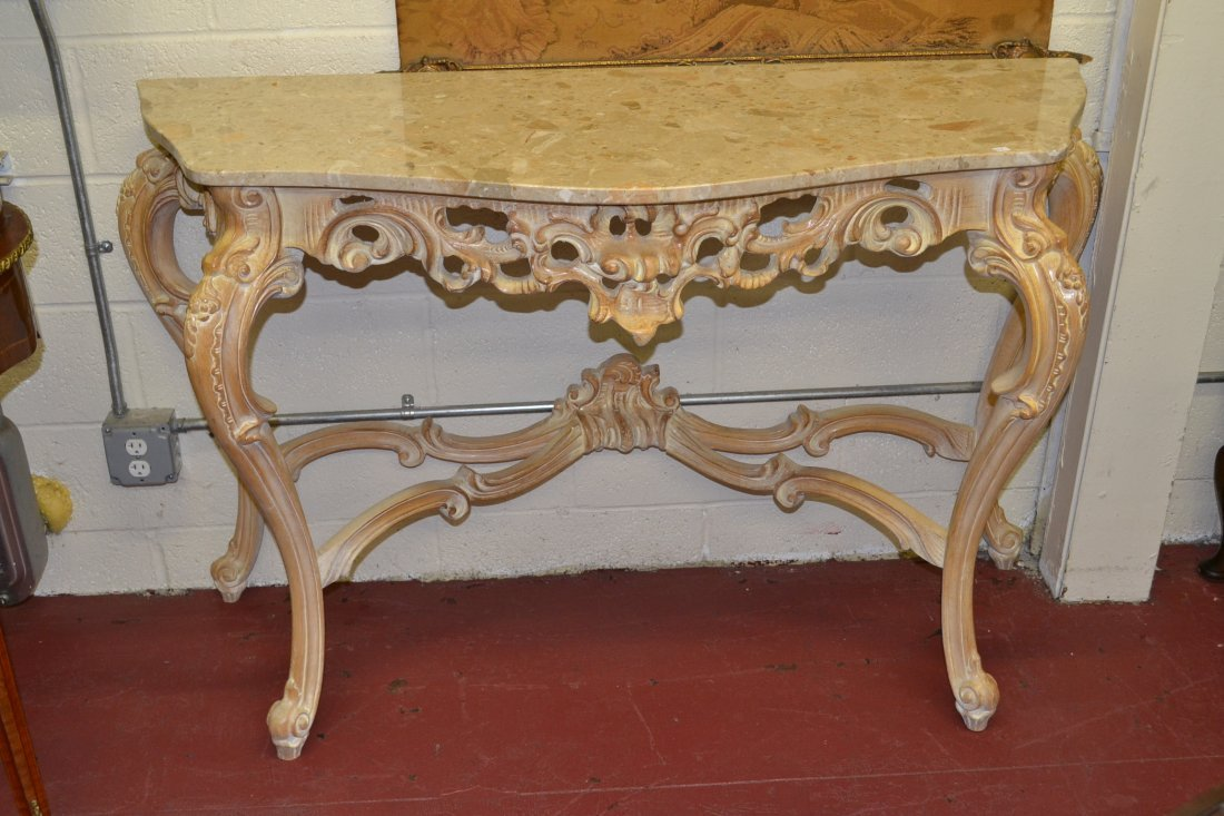 216: CARVED WHITE WASHED MARBLE TOP CONSOLE