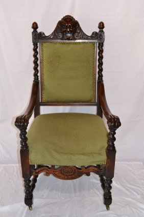 CARVED ARM CHAIR WITH BARLEY TWIST COLUMN ,