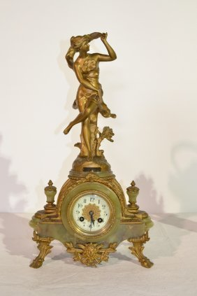 19thC BRONZED & ONYX CLOCK WITH FIGURE OF GIRL