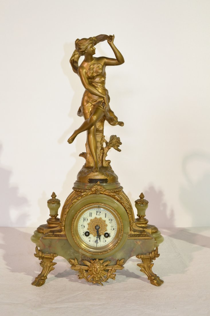 220: 19thC BRONZED & ONYX CLOCK WITH FIGURE OF GIRL