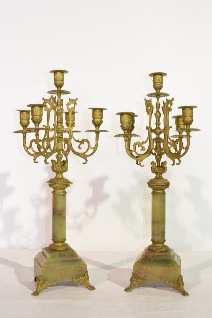 221: (Pr) 5-CANDLE BRONZE & ONYX CANDELABRAS WITH