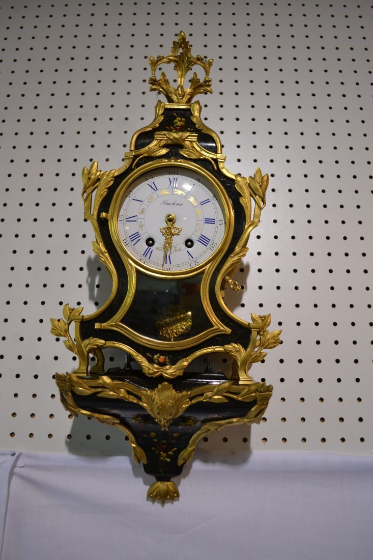 225: HAND PAINTED ARTIST SIGNED BRACKET CLOCK WITH