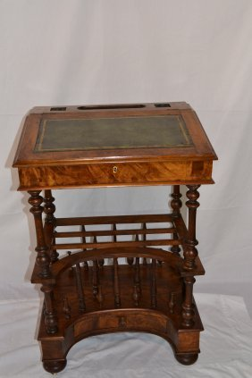 19thC BURL WOOD LEATHER TOP LIFT TOP DESK WITH