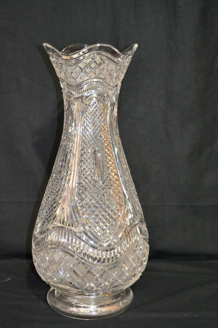 287: WATERFORD MASTER CUT CRYSTAL VASE WITH
