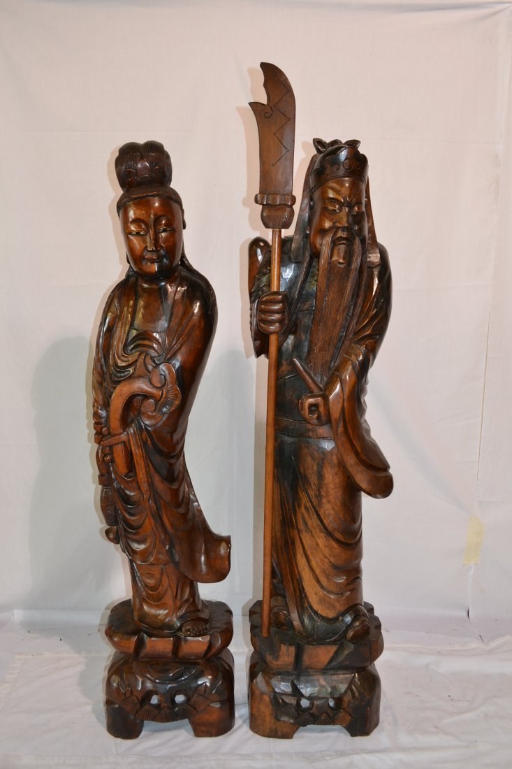 295: (Pr) ORIENTAL HAND CARVED ROSEWOOD STATUES OF
