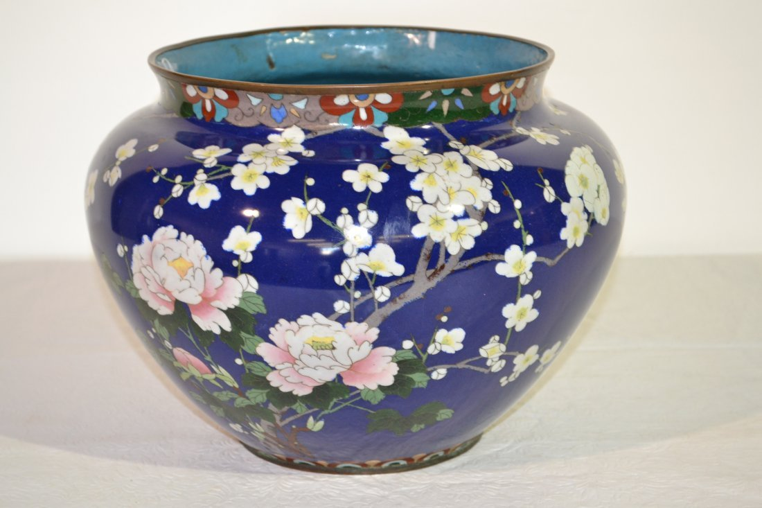296: ANTIQUE CLOISONNE JARDINIERE WITH FLOWERS