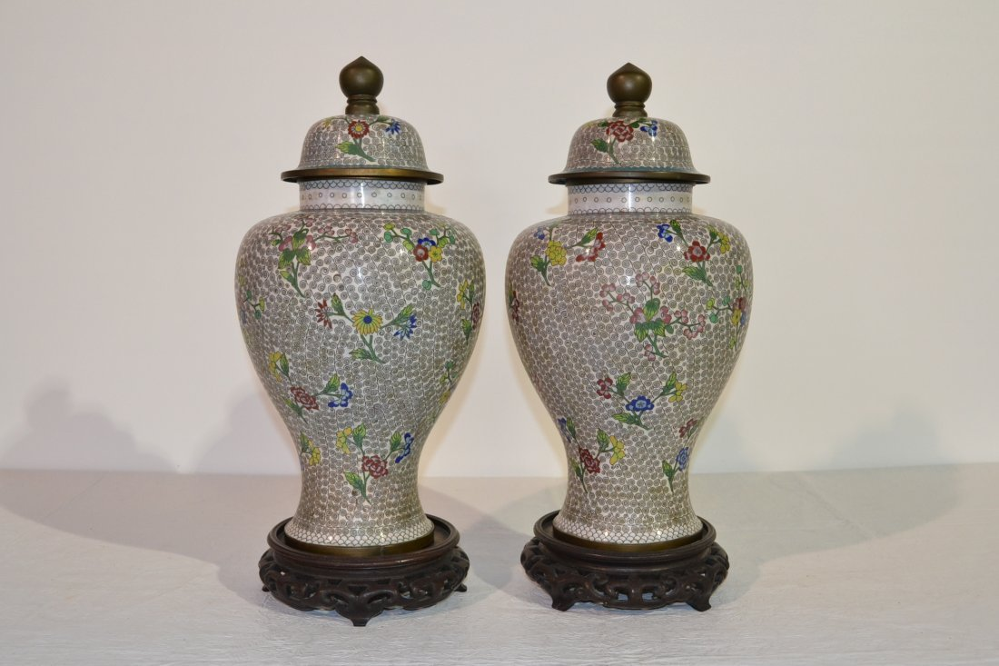 297: (Pr) OLD CHINESE CLOISONNE COVERED GINGER JARS